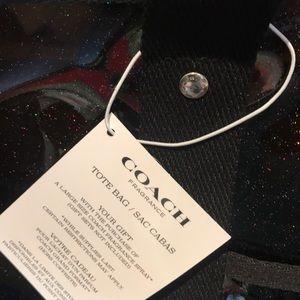 Coach Bags - NWT COACH TOTE BAG BLACK SPARKLE PVC